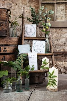 Ladder Decor Candles Organic Foliage Rustic Wedding Ideas http://www.sarahvivienne.co.uk/