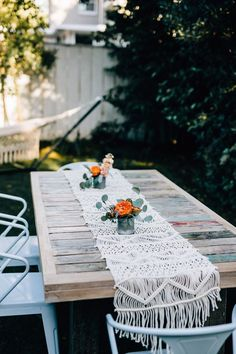 Handwoven Macrame Table Runner $72.00 | Anthropologie
