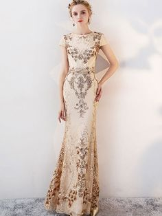 195ec60af8 Embroidery Sequins O-Neck Short Sleeves Sheath Prom Dresses