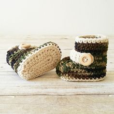 Crochet Baby Camo Boots Shoes Newborn Infant Handmade Baby Shower Gift Military Army Photography Photo Prop