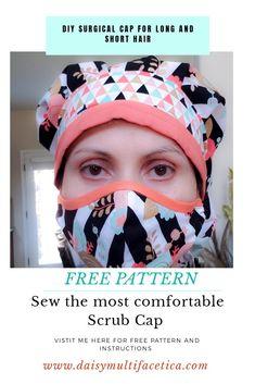 Scrub Hat Patterns, Diy Bags Patterns, Sewing Patterns Free, Free Sewing, Perm, Bonnet Pattern, Baby Sun Hat, Nurse Hat, Scrub Caps