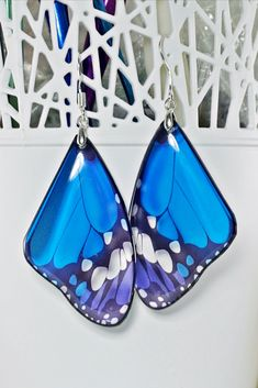 Classic Blue Butterfly Earrings Silver Bohemian Earrings Butterfly Wing Unique Gift For Her Anniversary Gift For Mom Boho Dangle Bridal Wing Earrings, Butterfly Earrings, Silver Earrings, Blue Butterfly, Butterfly Wings, Pink Turquoise, Christmas Gifts For Her, Pendant Set, Bridal Earrings