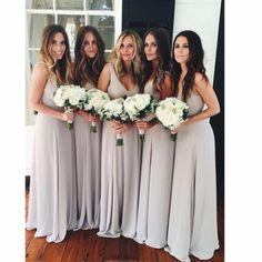 Popular Floor-length A-Line Scoop simple cheap Chiffon Bridesmaid Dress , BD0435#bridesmaids #bridesmaiddress #bridesmaiddresses #dressesformaidofhonor #weddingparty #2020bridesmaiddresses Bridesmaid Dresses 2018, Grey Bridesmaids, Prom Dresses, Wedding Dresses, Chiffon Dresses, Light Grey Bridesmaid Dresses, Sleeve Dresses, Long Dresses, Cheap Dresses