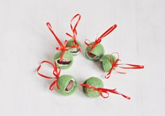 Items similar to READY TO SHIP - Set of 6 felted chestnuts for home decor / Christmas home decoration / Felt Christmas ornament / Woodland / Green Red on Etsy Home Decor Sets, Ship, Christmas Ornaments, Holiday Decor, Unique Jewelry, Handmade Gifts, Etsy, Kid Craft Gifts, Christmas Jewelry