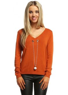 Laetitia Mem Burnt Orange V Neck Jumper With Diamonte Ball Necklace Orange Jumpers, Orange Blazer, Ball Necklace, Signature Style, Burnt Orange, V Neck T Shirt, Knitwear, Pumpkin, Skinny
