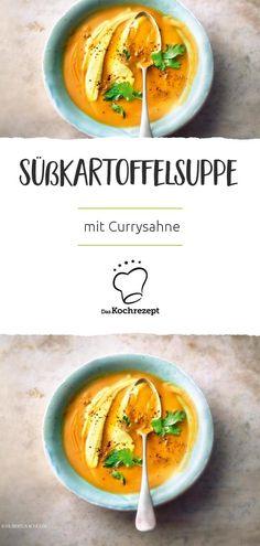 Sweet potato soup with curry cream 21 Day Fix, Unique Recipes, Ethnic Recipes, Vitamin C Benefits, Sweet Potato Soup, Grain Foods, Whole Grain Bread, Morning Food, Vegan Sweets
