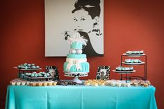Cake Tables, Tiffany inspired b-day