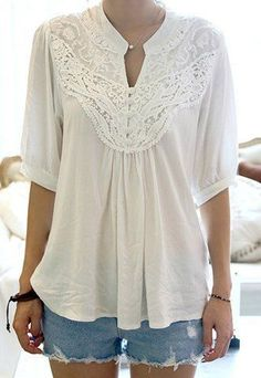 Half Sleeve Lace Splicing Blouse RoseGal