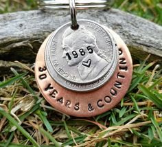 30 year anniversary keychain, 30th anniversary, handstamped, for her, for him,  30th birthday, couples gift 30 years and counting, by TiffysLove on Etsy