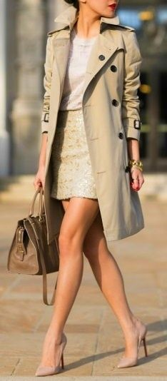 Trenched coats suit all ages. Choose a skirt length to suit your legs but keep it slim& simple.