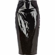 Black high shine pencil skirt #riverisland