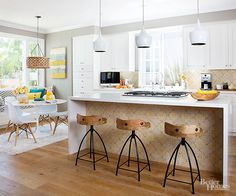 Update a kitchen's look with a waterfall countertop. Check out how these homeowners transformed their kitchen without breaking the bank here: http://www.bhg.com/decorating/makeovers/before-and-after/builder-basic-home-makeover/?socsrc=bhgpin102115afterbrightoutlook&page=2