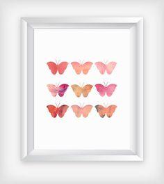 Scandi Butterflies Art, Printable Wall Print, Scandinavian Decor, 16x20 Nordic Design, Geometric Minimalist Abstract, Blush Nursery Poster