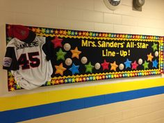 I used one of my son' sold baseball uniforms for my Back-to School Bulletin Board!