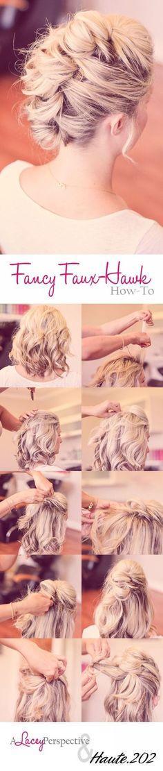Faux Hawk Updo Hairstyle Tutorial for Medium Hair