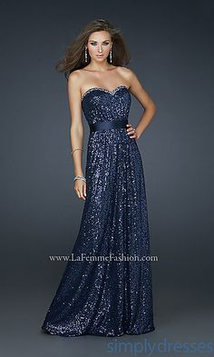 Strapless Sequin Prom Gown by La Femme
