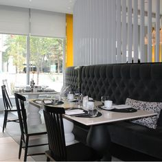 A curved banquette at The Yellow Door Bistro, Hotel Arts, Calgary, Canada Hotel Arts, Yellow Doors, Calgary, A Boutique, Modern Contemporary, Foodies, Restaurants, Canada, Dining