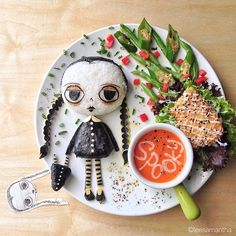 I'm going to start serving meals that look like this . . . I WISH!  These are so awesome.  What a talented lady.  Pop culture-inspired dishes