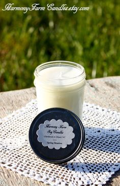 Spring Meadow Soy Wax Candle in 8 oz Jelly by HarmonyFarmCandles, $9.00