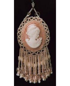 Double Cameo or Cabochon Tassel Ornament, Sova Enterprises
