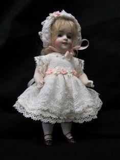 "Lawn Dress Set for 6"" Antique Doll Mignonette All Bisque Kestner Dollhouse"