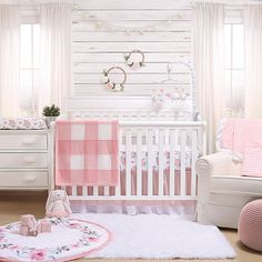 The Peanutshell Farmhouse Crib Bedding Collection White/pink - Wrap your little one in cozy comfort with the charming Farmhouse Crib Bedding Collection from the Peanutshell. Plush fabrics and sweet gingham are sure to create a welcoming nursery. Baby Crib Bedding Sets, Baby Bedroom, Baby Room Decor, Baby Cribs, Nursery Room, Baby Girl Bedroom Ideas, Girl Nursery Decor, Pink And Green Nursery, Nursery Sets
