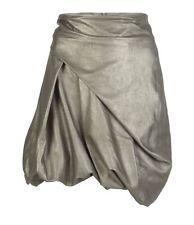 NWT $300 Allsaints Leather Metallic Silver Parachute Bubble Skirt UK10 US 6 M