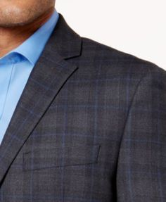 Ryan Seacrest Distinction Men's Gray and Blue Plaid Modern-Fit Jacket - Gray 38R