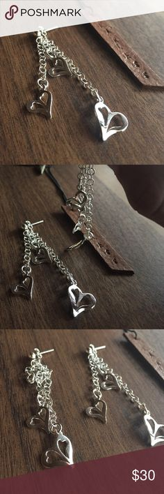 Sterling silver earrings hearts 💍Solid Sterling silver 925, shop with confidence🎊🎉 Jewelry Earrings