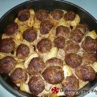 Κεφτεδάκια στο φούρνο με πατάτες Pepperoni, Pizza, Food, Meals, Yemek, Eten