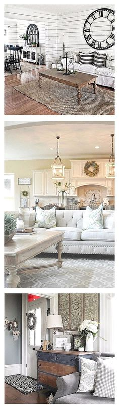Farmhouse style living room ideas - love this country farmhouse look for living rooms - even small living rooms. The bright white colors make a tiny living room look bigger. Beautiful living room decor ideas!