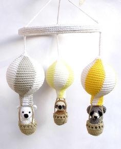 Yellow Gray Nursery Mobile, Baby Mobile with Crochet Hot Air Balloons