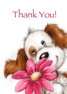 Cute dog with big smile holding huge red flower, Thank you friend card. Personalize any greeting card for no additional cost! Cards are shipped the Next Business Day. Thank You Wishes, Thank You Friend, Thank You Cards, Happy Birthday Images, Happy Birthday Greetings, Birthday Wishes, Red Flowers, Colorful Flowers, Cute Images