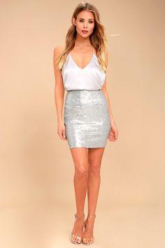 Love Me Now Matte Silver Sequin Bodycon Mini Skirt 1