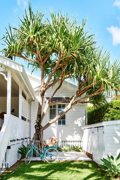 The renovation of this classic white weatherboard cottage in Byron Bay has resulted in a modern family home inspired by its coastal location and the owner's love of eclectic, colourful decor. See inside! Beach Cottage Decor, Coastal Cottage, Coastal Homes, Coastal Style, Coastal Living, Cottage Chic, Outdoor Living, Indoor Outdoor, Outdoor Decor