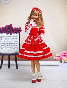 Red And White Bow Cotton Sweet Lolita Dress - Milanoo.com