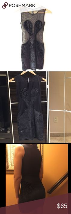 Brian Lichtenberg Freakum Dress Black Mesh and Velvet Body hugging dress . This brand has been Seen on celebs such as Kim Kardashian , Paris Hilton , Katy Perry and more . Worn once and in perfect condition Brian Lichtenberg Dresses Mini