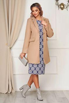 Palton SunShine crem office din stofa cu buzunare captusit pe interior - Smart Shopping Online Interior, Duster Coat, Shopping, Jackets, Fashion, Down Jackets, Moda, Indoor, Fashion Styles