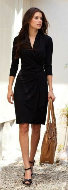 Love the shape of this dress with right depth of V-neck and perfect hem length.