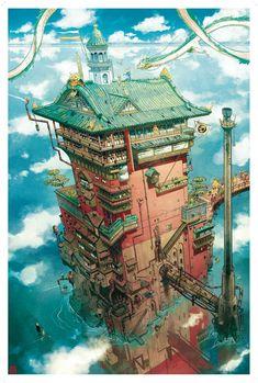 Spirited Away: The Bath House by Mathieu Bablet : ghibli Studio Ghibli Art, Studio Ghibli Movies, Hayao Miyazaki, Fantasy World, Fantasy Art, Personajes Studio Ghibli, Arte Peculiar, Environment Concept Art, Scenery Wallpaper