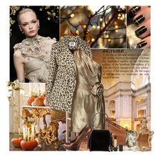 """Gold metallic dress"" by amethystes ❤ liked on Polyvore featuring Lanvin, Vero Moda, Halston Heritage, Pamela Love, Dolce&Gabbana, Rosantica, Gucci, Swarovski, Revlon and Monday"