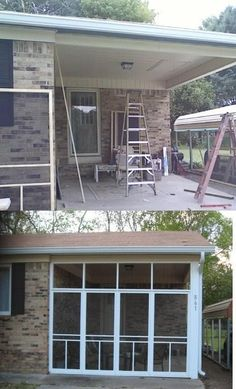 """Pinner idea ------""""I turned my one car carport in to a screen in room , using basic 20doller screen doors ..framed to door size then trimmed the doors in ..only one door opens on each wall.I love it no more flying bugs when I'm relaxing or dinning out side."""""""