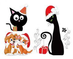 schattige honden en katten van kerst vector materiaal