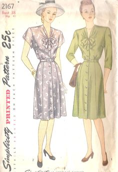 1940s shirtwaist with bow