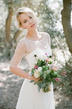 Sequin illusion bodice tulle gown with elbow-length sleeves // Vintage Glam: Bridesmaid Dresses by Jenny Yoo