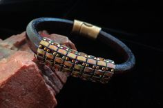 Brown Regaliz Leather Bangle with Half Tila Beads and by beadbound, $30.00