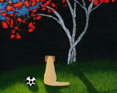 Yellow Lab Dog Soccer Art PRINT by Todd Young painting SOCCER BUDDY