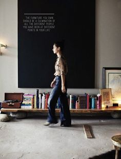 manhattan loft of andi potankim (photo by emily johnston anderson for rue magazine, october p. Low bookshelves for kids Low Bookshelves, Low Shelves, Bookshelf Bench, Shelving, Simple Bookshelf, Rustic Bookshelf, Tv Shelf, Interior Architecture, Interior And Exterior