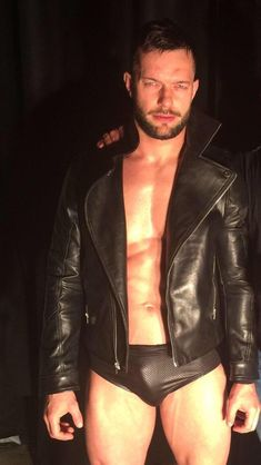 Leather Men, Leather Jacket, Black Leather, Balor Club, Lycra Men, Finn Balor, Beefy Men, Hommes Sexy, Raining Men