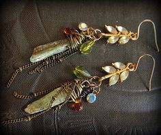 Up-cycled Vintage Leaves, Kyanite and Glass Beaded Chain Earrings